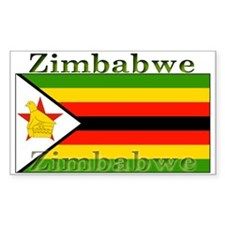 Zimbabwe Zimbabwean Flag Rectangle Decal