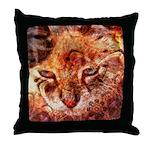 Wood Cat Throw Pillow