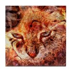 Wood Cat Tile Coaster