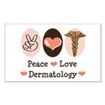Peace Love Dermatology Rectangle Sticker 10 pk)