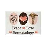 Peace Love Dermatology Rectangle Magnet (10 pack)