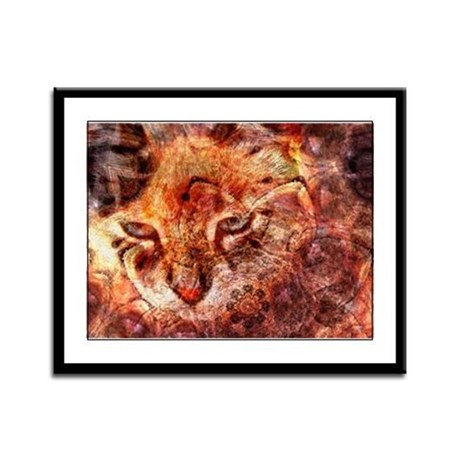 Wood Cat Framed Panel Print