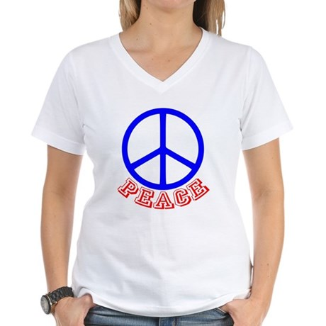 Peace Symbol v9 Women's V-Neck T-Shirt