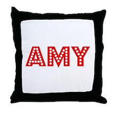 Retro Amy (Red) Throw Pillow