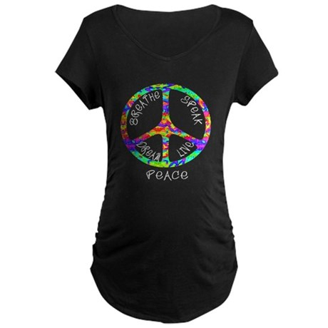 Live Peace Maternity Dark T-Shirt