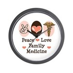 Peace Love Family Medicine Wall Clock