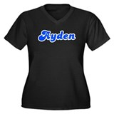Retro Ayden (Blue) Women's Plus Size V-Neck Dark T