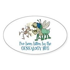 Bitten by Genealogy Bug Oval Decal