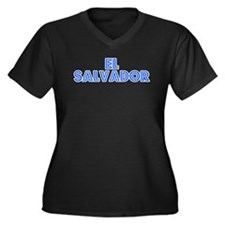 Retro El Salvador (Blue) Women's Plus Size V-Neck