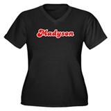 Retro Madyson (Red) Women's Plus Size V-Neck Dark