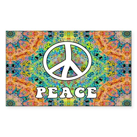 Groovy Peace Rectangle Sticker