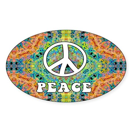Groovy Peace Oval Sticker