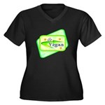 Go Vegan Women's Plus Size V-Neck Dark T-Shirt