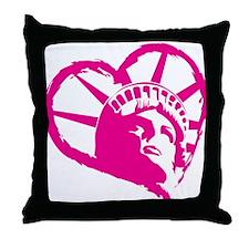 Lady Liberty Pink Heart Throw Pillow