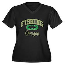FISHING OREGON Women's Plus Size V-Neck Dark T-Shi