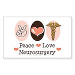 Peace Love Neurosurgery Rectangle Sticker