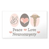Peace Love Neurosurgery Rectangle Sticker 50 pk)