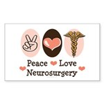 Peace Love Neurosurgery Rectangle Sticker 50 pk)