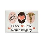 Peace Love Neurosurgery Rectangle Magnet (100 pack