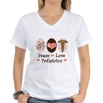 Peace Love Pediatrics Women's V-Neck T-Shirt