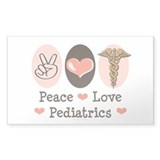 Peace Love Pediatrics Rectangle Decal