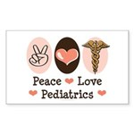 Peace Love Pediatrics Rectangle Sticker
