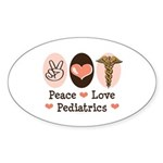 Peace Love Pediatrics Oval Sticker (10 pk)