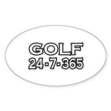 """Golf 24-7-365"" Oval Decal"