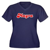 Retro Mayra (Red) Women's Plus Size V-Neck Dark T-