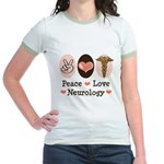 Peace Love Neurology Jr. Ringer T-Shirt