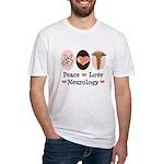 Peace Love Neurology Fitted T-Shirt