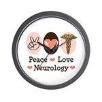 Peace Love Neurology Wall Clock