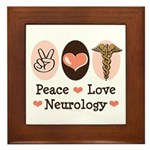 Peace Love Neurology Framed Tile