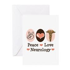 Peace Love Neurology Greeting Cards (Pk of 20)
