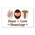 Peace Love Neurology Rectangle Sticker 10 pk)