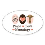 Peace Love Neurology Oval Sticker (10 pk)