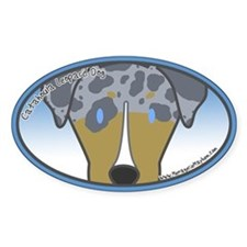 Anime Quad Catahoula Leopard Dog Oval Decal