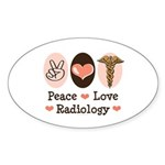 Peace Love Radiology Oval Sticker (10 pk)