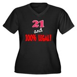 21 and 100% legal Women's Plus Size V-Neck Dark T-