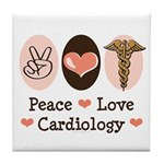 Peace Love Cardiology Tile Coaster
