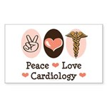 Peace Love Cardiology Rectangle Sticker 50 pk)