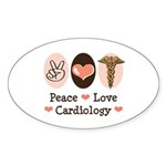 Peace Love Cardiology Oval Sticker (10 pk)