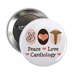 "Peace Love Cardiology 2.25"" Button (100 pack)"