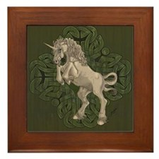 Unicorn on Celtic Knot Framed Tile