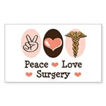 Peace Love Surgery Rectangle Sticker 10 pk)