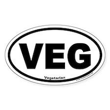 Vegetarian Euro Style Oval Car VEG Decal