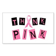 Think Pink 2 Rectangle Sticker