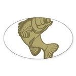 Smallmouthed Bass Oval Sticker (50 pk)