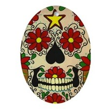 Day of the Dead Skull Oval Ornament