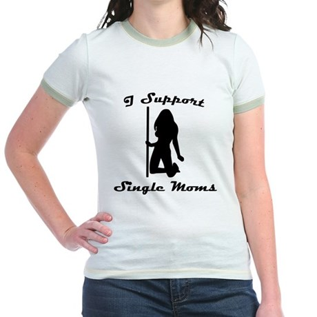 I Support Single Moms Jr Ringer T-Shirt